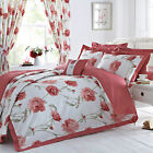 Arley Percale 180 Thread Count Floral Design Oxford Duvet Cover Set - Red