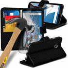 Leather Book Wallet Phone Case Cover+Glass Screen Protector for Lenovo Motorola