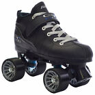 Black Pacer Mach 5 GTX-500 Quad Speed Roller Skates w/ 2 Pair Laces Gray & Black