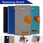 Denim Canvas Leather Wallet Case for Samsung Galaxy Note 3 Card Slots Cover