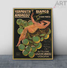 Vintage Italian Vermouth Bianco Poster Art Framed Canvas or Unframed Print
