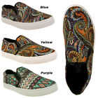 WOMENS TRAINERS LADIES CANVAS SHOES GIRLS PAISLEY PRINT FLAT PUMPS SKATER SHOES