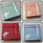 1 x Cardboard Jewellery Gift Box - 9cm - Bow & Rose Design [Various Colours]