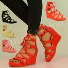 NEW WOMENS PLATFORMS LADIES GLADIATOR LACE UP ANKLE SANDALS SHOES SIZE UK 3-8