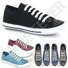 LADIES CANVAS SHOES GIRLS RETRO LACE UP BLACK FASHION PUMPS PLIMSOLES TRAINERS