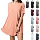 High Quality Solid Half Sleeve Scoop Neck Swing Dress Casual Rayon Cute SM ML