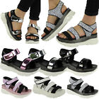 WOMENS LADIES PLATFORM VELCRO GLITTER COMFY MID HEEL WEDGE SHOES SANDALS SIZE