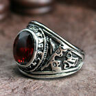 Men's Vintage Revolver Navy Ruby Red CZ Stone Military 316L Stainless Steel Ring