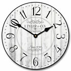 Harbor White LARGE WALL CLOCK 10- 48 Whisper Quiet Non-Ticking WOOD HANDMADE