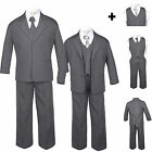 Baby Toddler Teen Formal Dark Grey Tuxedo 6pc Set Boy Sui...
