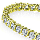 "5mm 14K Gold Plated Sterling Silver ""S"" Shape Cubic Zirconia Tennis Bracelet"