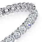 "Traditional 5mm  Sterling Silver ""S"" Shape Cubic Zirconia Link Tennis Bracelet"