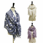 FLOWER PATTERN EMBROIDERY COTTON SCARF WRAP SHAWL / LEOPARD HEADSCARF