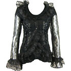POIZEN INDUSTRIES LACE TOP LADIES BLACK GOTHIC RUFFLES CORSET RIBBON VAMPIRE