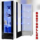 Tall Display Cabinet Unit High Gloss White Glass Shelves Furniture Modern Lounge