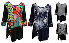 Ladies Plus Size 3/4 Sleeve Cotton Blend Layered Tunic Top 14 16 18 20 22 24