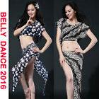 2016 Women Lace Flowers Belly Dancing Costumes Suit Stage 2Pcs Top Skirt 1size