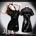 punk futuristic cosplay city of light patent leather wiggle dress SKT01201