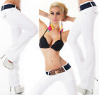 Sexy Women's New White Bootcut Stretchy Jeans Trousers  Incl. Belt S 038