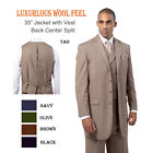 Men's Luxurious Wool Feel Suit Vested Center Back Split Tan Forti Landi 5263V