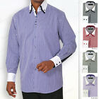 Men's dress shirt double layered collar, square button, striped two tone syl 606