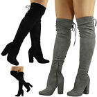WOMENS LADIES OVER THE KNEE TIE BACK THIGH BOOTS HIGH BLOCK HEEL SHOES BOOTS SIZ