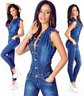 Sexy New Women's Denim Blue Jeans Playsuit Jumpsuit Overall Skinny Slim N 167