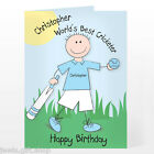 Cricket themed personalised card Birthday Fathers day Celebration & cricket bat