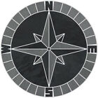 16 Tile Mosaic Medallion Mariners Compass Gray Black Slate Backsplash Flooring