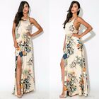 Women Floral Leaf Print Side Split Ladies Crew Neck Sleeveless Maxi Dress