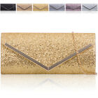 Women Glitter Sparkle Clutch Bag Bridal Envelope Sequinned Ladies Evening Prom