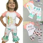 3PCS Toddler Kids Baby Girl Summer Clothes T-shirt Top+Pants+Headband Outfit Set
