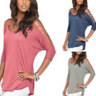 Casual Loose T Shirt Women Off Shoulder Hollow Cut out Round Neck Tee Top Blouse