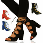 NEW WOMENS LACE UP BLOCK MID HEELS STRAPPY LADIES GHILLIE SANDALS SHOES SIZE UK