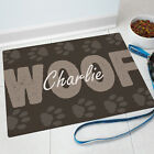 Woof Dog Pet Food Personalized Mat GIFT - Custom Floor Mat with Paw Prints