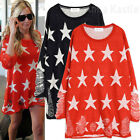AnnaKastle New Womens Star Print with Rips Knit Sweater Top Blue Red sz S - M