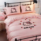 Hello Kitty Bedding Set Embroidery Satin Cotton Silk Feel Duvet Cover Bed Sheet