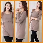 NEW BEIGE MATERNITY BREASTFEEDING NURSING DRESS KNIT TUNIC TOP JERSEY SIZE 8 10