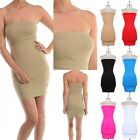Seamless SPANDEX Basic Strapless Bodycon Jersey Tube Tunic LAYERING Dress