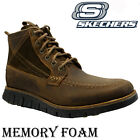 NEW MENS SKECHERS LEATHER RELAXED FIT MEMORY FOAM WALKING ANKLE BOOTS SHOES SIZE
