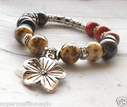 Beaded Bracelet Stretch Boho Tribal Flower Hippie Silver Tone Festival Ethnic