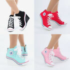 Womens Shoes Canvas Wedge High Top Heel Lace Up Fashion Sneakers 775 Back Zipper