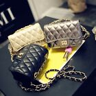 Women's Quilted Faux Leather Small Mini Shoulder bag Purse Chain Crossbody bag
