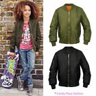New Girls Kids Retro MA1 Flight Classic Bomber Biker Vintage Jacket Age 7-13