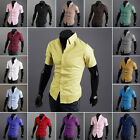 Chic Mens Luxury Plain Short Sleeve Slim Fit Casual Formal Business Dress Shirt