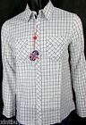 English Laundry Shirt 100% Cotton White With Blue Check