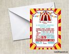 Circus Carnival Baby Shower or  Birthday Party Invitations Personalized Custom