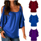 Fashion Womens Loose Pullover T Shirt Off Shoulder Cotton Tops Shirt Blouse New