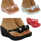 NEW WOMENS LADIES PLATFORM MID HEEL SUMMER FLIP FLOP WEDGES SHOES SANDALS SIZE