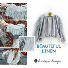 Linen Short Blouse with Tassels Design Style Fashion  Top 2-7Y